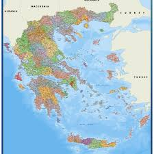 greece map political greece political map vector wall maps made in barcelona from