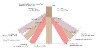 roof framing geometry california bay window hip rafter head cuts