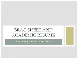 Guidance Counselor Brag Sheet Brag Sheet And Academic Resume Ppt