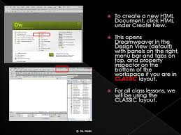 html layout under ms masihi the dreamweaver welcome screen first opens when you