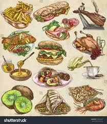 collection cuisine food menuinternational cuisine set cooking dish stock illustration