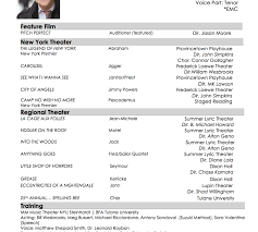musical theatre resume template magnificent sle musical theatre resume template college