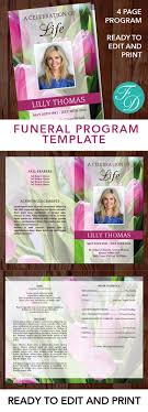 print funeral programs pink tulips printable funeral program ready to edit print