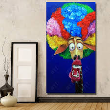 paint for kids room funny faces cartoon figure oil painting for kids room decoration