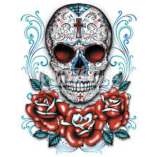 sugar skull with roses wildside