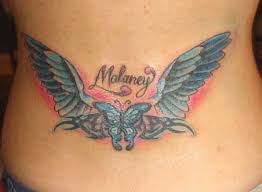 angel wings daughters name tribal tattoo