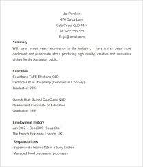 Cook Resume Sample by Australian Resume Template Word Haadyaooverbayresort Com