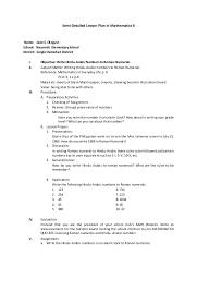 lesson plan math 6 hindu arabic roman