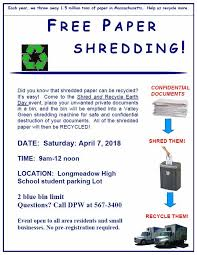 where to shred papers for free longmeadow ma