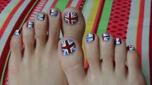 British Flag Nails Nail Art Tutorial Union Jack British Flag For Toe Nails Youtube