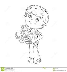 coloring pages of roses and flowers coloring page outline of boy holding a bouquet of roses stock