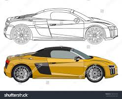 cartoon audi r8 detailed side flat yellow convertible car stock vector 735262195