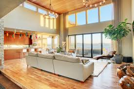 Laminated Timber Floor Decorations Fascinating Living Room Design With Fancy High
