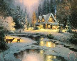 kinkade deer creek cottage painting deer creek cottage