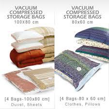 vacuum storage bags pack of 8 4 large 100x80cm 4 medium