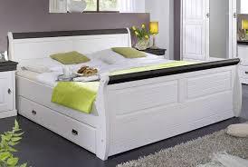 Schlafzimmer Bett Nussbaum Landhaus Doppelbett Mit Schubladen 180x200 Weiß Kolonial Holz