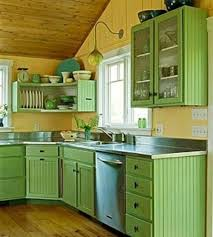 Red Color Kitchen Walls - small kitchen designs in yellow and green colors accentuated with