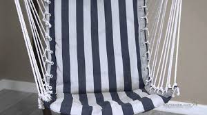 Hayneedle Hammocks Island Bay Navy And White Stripe Padded Sling Hammock Chair With