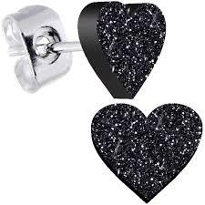 glitter stud earrings black glitter heart stud earrings bodycandy