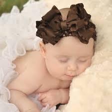 infant hair brown ruffle infant hair bow headband