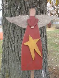 primitive wood angel pattern with wire halo angels u0026 crosses