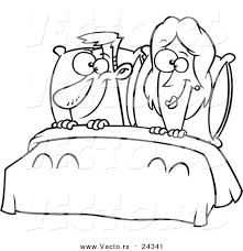 vector of a cartoon happy couple in bed outlined coloring page