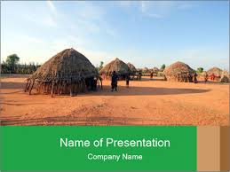 hut in africa powerpoint template u0026 backgrounds id 0000031834