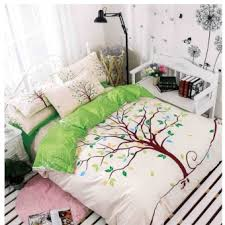 bed sheet set with quilt cover 800 thread count tree design green