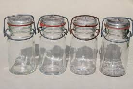 vintage canisters for kitchen small jars glass kitchen canisters w lightning lids