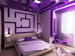 modern bedroom with amazing wall art and ceiling idea in purple