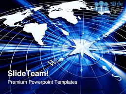 Powerpoint World Map by Compass With World Map Technology Powerpoint Templates Themes And