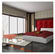 modern red bedroom design ideas with gray floor tile red