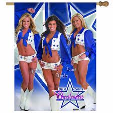 Cowboys Flag Dallas Cowboys Cheerleaders Vertical Flag Kelsi Trisha U0026 Sunni