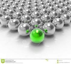 leading metallic ball showing leadership or winning stock