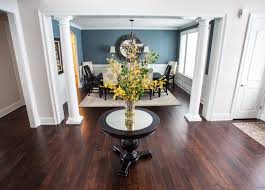 round foyer table dining room transitional with blue gray paint