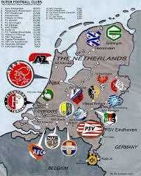 The Netherlands Map The Netherlands Football Clubs 2006 07 Billsportsmaps Com