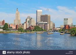 view of the skyline of providence rhode island from the far side