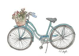 blue bicycle art print 5x7 watercolor painting giclee
