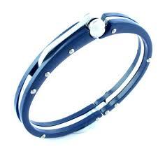 men rubber bracelet images Valchand jewellers stainless steel toughened fibre neon navy blue jpg