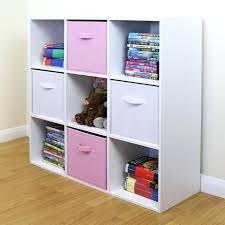 wall shelf storage 9 cube kids pink white toy games unit girls