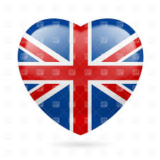 British Flag With Red Heart With British Flag Colors I Love United Kingdom Royalty Free