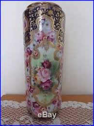 Nippon Hand Painted Vase Nippon Hand Painted Tall Vase Gold Gilt Moriage Beaded Maple Leaf