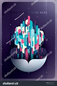 Futuristic Style Advertising Poster Design Futuristic Style Abstract Stock Vector