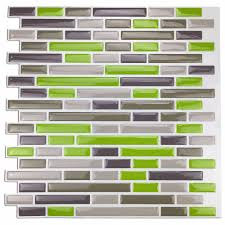 stick tiles backsplash promotion shop for promotional kitchen backsplash peel and stick tiles smart brick sticker wall green pieces