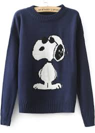 blue sleeve snoopy pattern knit sweater abaday