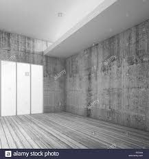 empty white interior background with wooden floor concrete walls