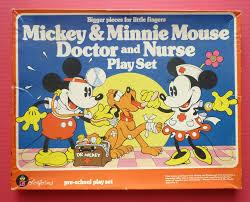 1981 rare mickey minnie mouse doctor nurse colorform