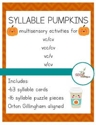 cv v vc syllable pumpkins orton gillingham aligned activities for vc cv vc