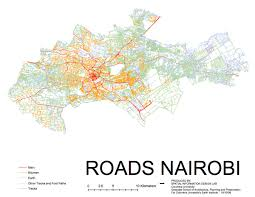 map of roads the mesh of road codes in nairobi and their pothole distribution