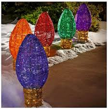 pre lit 5pc led outdoor c9 multi color path lights